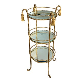 Gold Hollywood Regency Rope & Tassel Mirrored Table For Sale