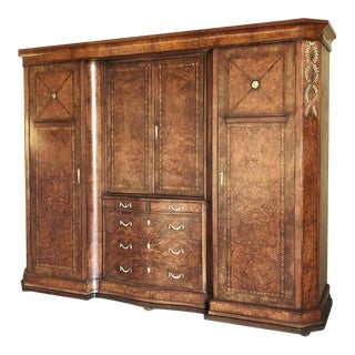 Antique Italian Neoclassical Burl Walnut Armoire With Bronze Mounts For Sale