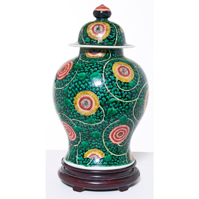 Asian Famille Verte Temple Jar For Sale - Image 3 of 7