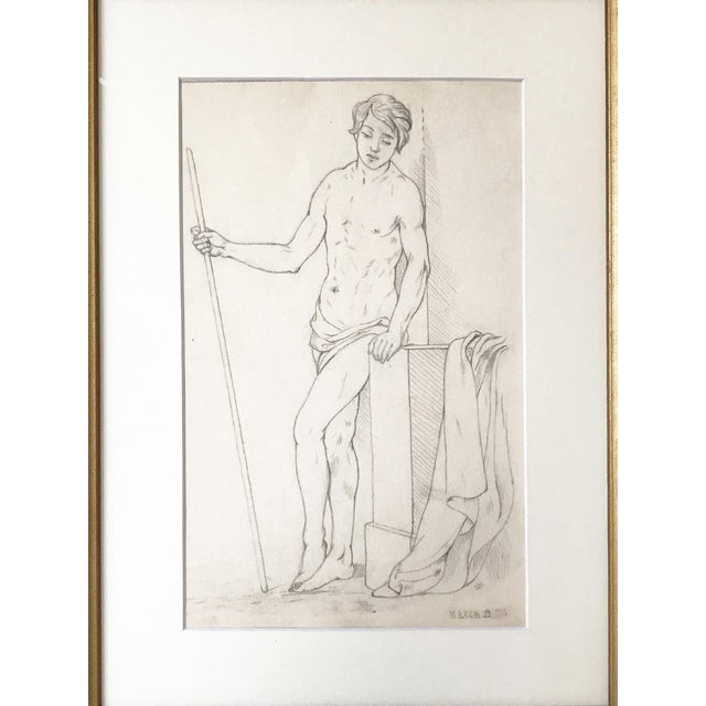 19th Century Neoclassical graphite drawing of a Greco-Roman male nude with spear resting against a pillar. Dated lower...