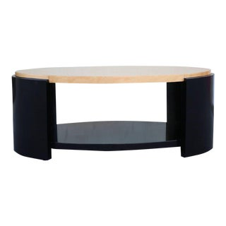 Maple and Black Lacquer Coffee Table in the Style of Karl Springer For Sale