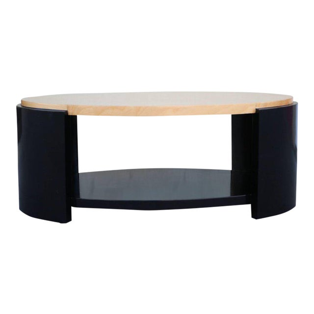 Maple and Black Lacquer Coffee Table in the Style of Karl Springer - Image 1 of 7