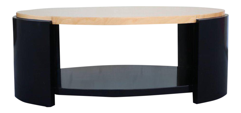 Charmant Maple And Black Lacquer Coffee Table In The Style Of Karl Springer   Image  1 Of