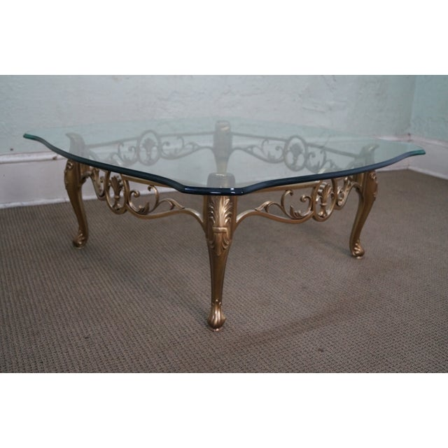 Vintage Brass & Glass French Louis XV Coffee Table - Image 3 of 10