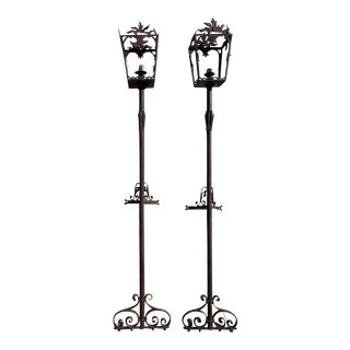 Antique French Wrought Iron Street Lights For Sale