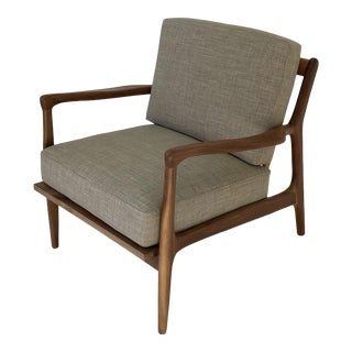 Contemporary Sculptural Lounge Chair in Walnut For Sale