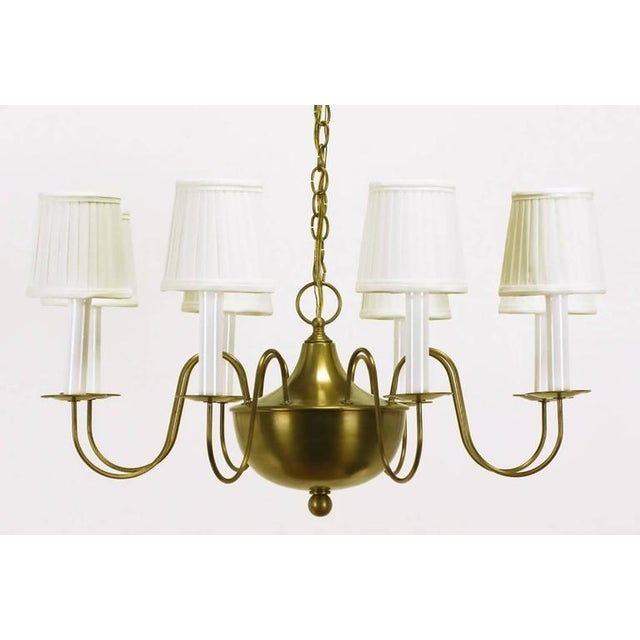 Fine Hand-Spun Brass Eight-Light Chandelier with Delicate Arms - Image 2 of 9