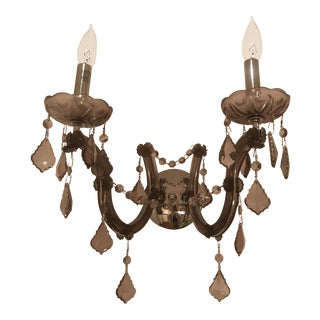 Purple Smoky Glass Candelabra Double Wall Sconce For Sale