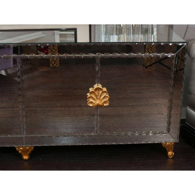 Mid-Century Modern Mirrored Buffet with Pie Crust Beveled Edges and Gold Leaf Hardware For Sale - Image 3 of 8