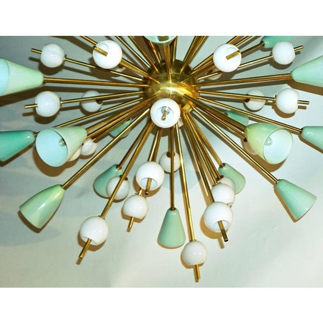 Contemporary Contemporary Italian White & Mint Green Murano Glass Sputnik Brass Chandelier For Sale - Image 3 of 8