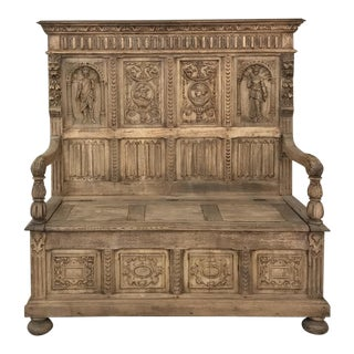 19th Century Italian Stripped Oak Hall Bench For Sale
