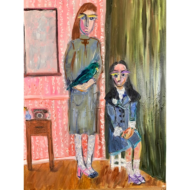"""Wood """"Las Hermanas"""" Contemporary Figurative and Interior Scene Oil Painting by JJ Justice For Sale - Image 7 of 11"""