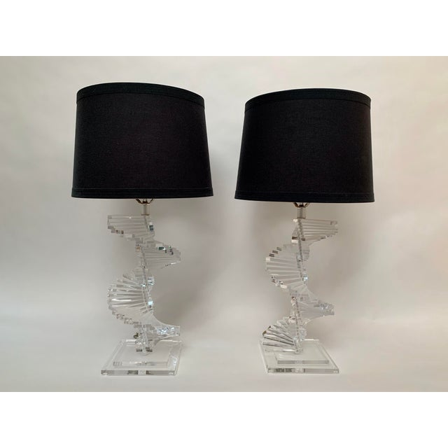 Stacked Lucite Helix Form Lamps – shades Not Included. Two lucite lamps featuring a cascading spiral of fixed lucite...