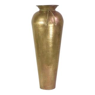 Brass Rope & Tassel Floor Vase For Sale