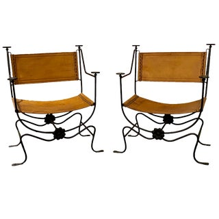 1960's Mid-Century Modern Hand Forged Iron and Leather Side Chairs - a Pair For Sale