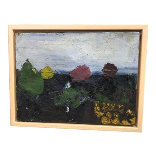 1970s Vintage Abstract Oil Painting For Sale