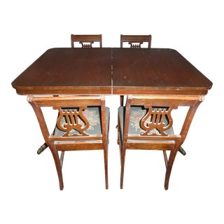 Vintage 1940s Duncan Phyfe Table With Chairs and Leaf - 5 Pieces For Sale