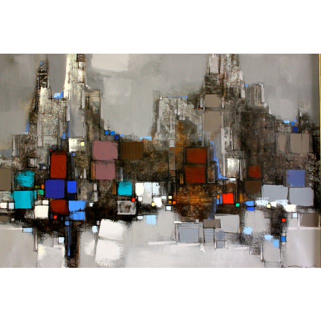 Mid-Century Modern Max Gunther Large Mid-Century Modern Abstract Cityscape Painting For Sale - Image 3 of 4