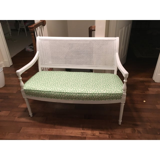 Wood Vintage Cane Back Settee For Sale - Image 7 of 7