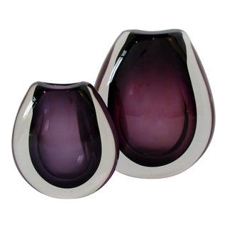 Holmegaard Purple Glass Vases, Set of 2 For Sale
