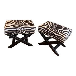 Savannah Fabric Zebra Benches- a Pair For Sale