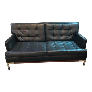 Mid Century Modern Lee L Woodard and Sons Black Tufted Vinyl Loveseat Sofa For Sale