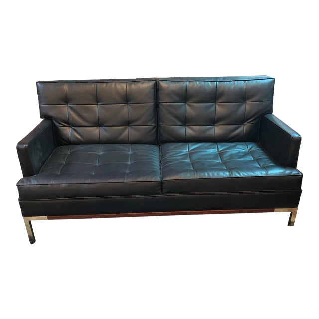 Vintage Russell Woodard Black Leather Sofa