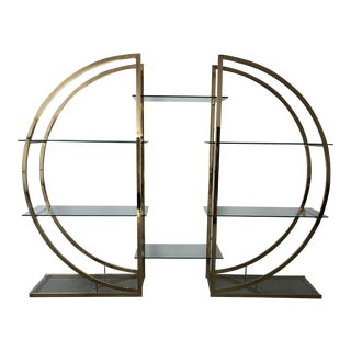 Milo Baughman Dia Brass Semi Circle Etageres For Sale