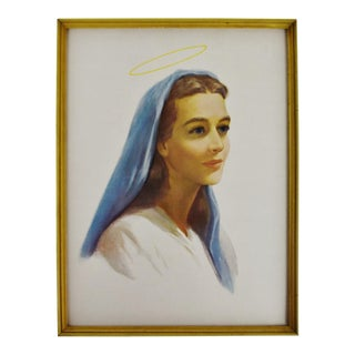 Vintage Framed Religious Print of the Virgin Mary With Halo For Sale