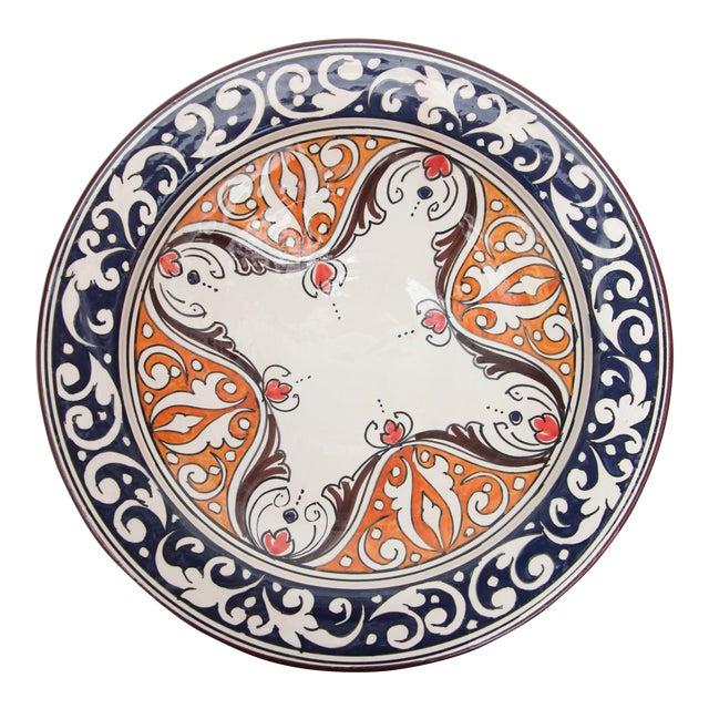 Atlas Navy & Orange Ceramic Plate - Image 1 of 3