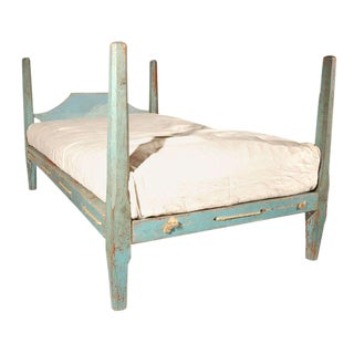 19th Century Original Blue Painted Pencil Post Hired Hands Bed For Sale