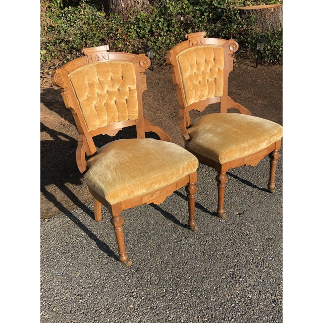 Traditional Late 19th Century Victorian Eastlake Carved Wood Original Velvet Chairs - a Pair For Sale - Image 3 of 13