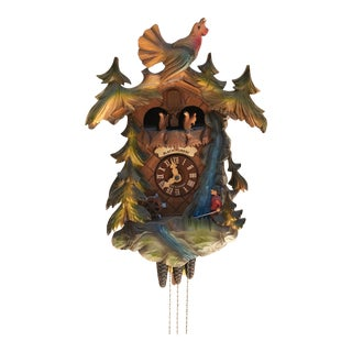 Vintage Black Forest German/ Switzerland Handmade Hand Painted Cuckoo Clock For Sale