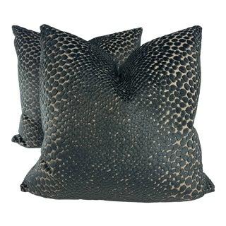 "Dot Cut Velvet in Navy 22"" Pillows-A Pair For Sale"