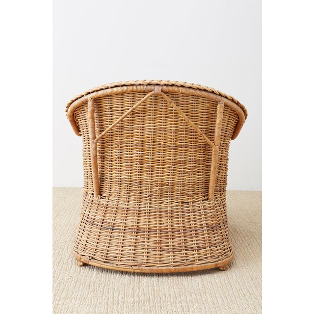 Pair of McGuire Rattan Wicker Lounge Chairs and Ottoman For Sale - Image 12 of 13