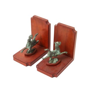 1950's Vintage Chinese Flying Horse of Kansu Mahogany Bookends for Smithsonian Institution - a Pair For Sale