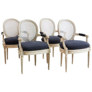 Set of Four Louis XVI Style Cane Fauteuil Dining Armchairs For Sale