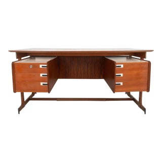 Vintage Teak and Rosewood Floating Top Executive Desk
