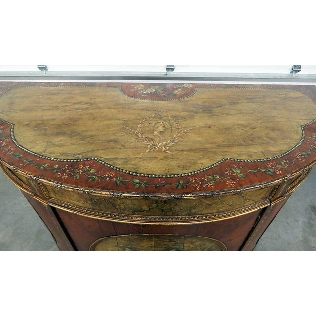 Brown Antique Adams Style Demi-Lune Table For Sale - Image 8 of 10