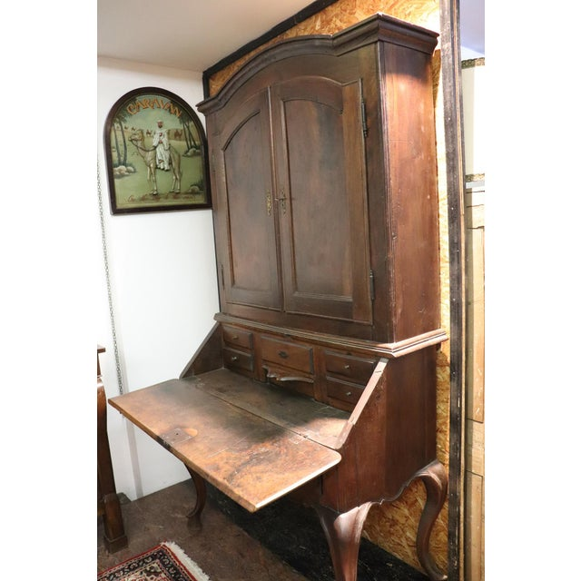 18th Century Italian Antique Louis XV Walnut Carved Trumeau, Secretaire For Sale - Image 10 of 12