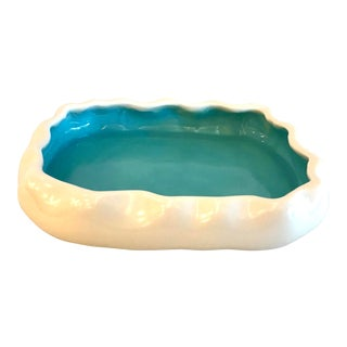 20th Century Metlox Manufacuring Company Turquoise and Cream Floating Console For Sale