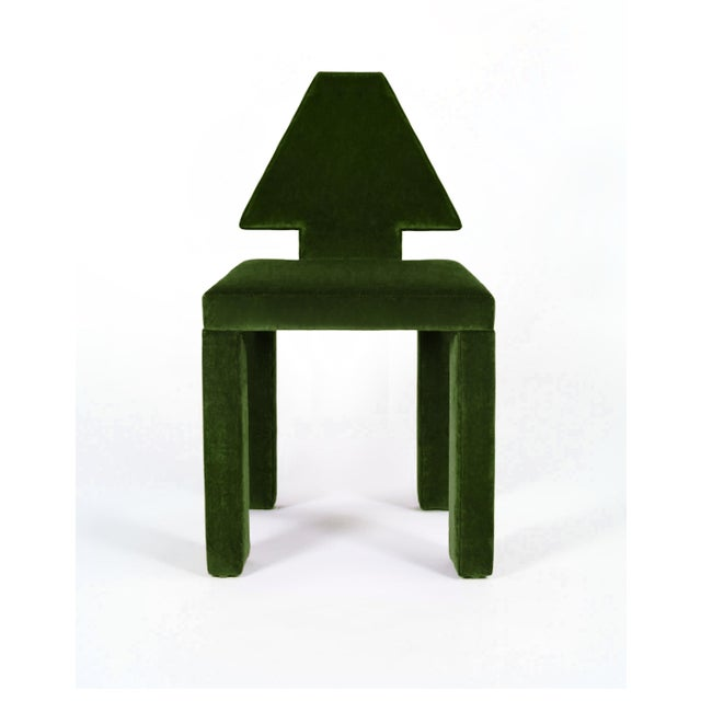 Jared Bond Contemporary Dining Chairs in Moss Cotton Velvet - Set of 6 For Sale - Image 4 of 6