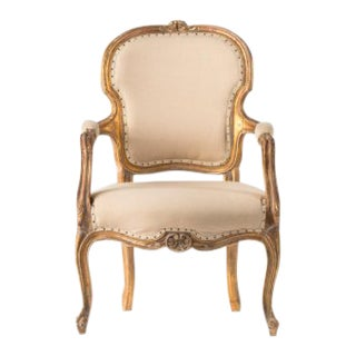 1930s Vintage Gold and Cream Chair For Sale