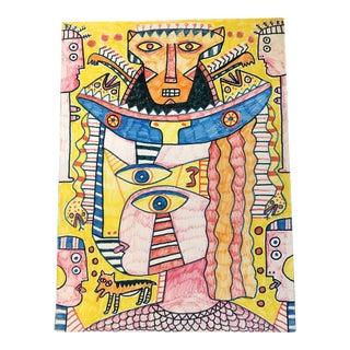 "Original Vintage Outsider Art 1990's ""The King of Babylon"" Colored Marker Drawing For Sale"