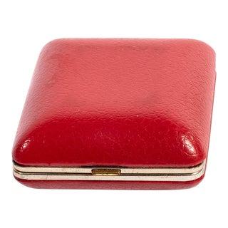 Vintage Red Leather Seth Thomas Travel Alarm Clock For Sale