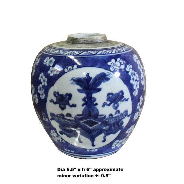 This is handmade handpainted traditional Chinese ginger jar with blue and white color graphics. Each one has a precise...