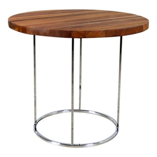Modern Chrome and Walnut Round Side Table Attributed to Milo Baughman For Sale