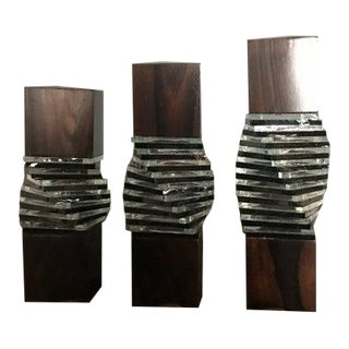 1980s Modernist Rosewood Fused Glass Candle Holders - Set of Three For Sale