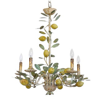 Vintage Inspired Tole Lemon Chandelier For Sale