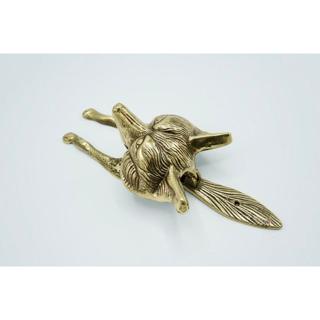 Vintage Brass Fox Door Knocker For Sale - Image 6 of 9